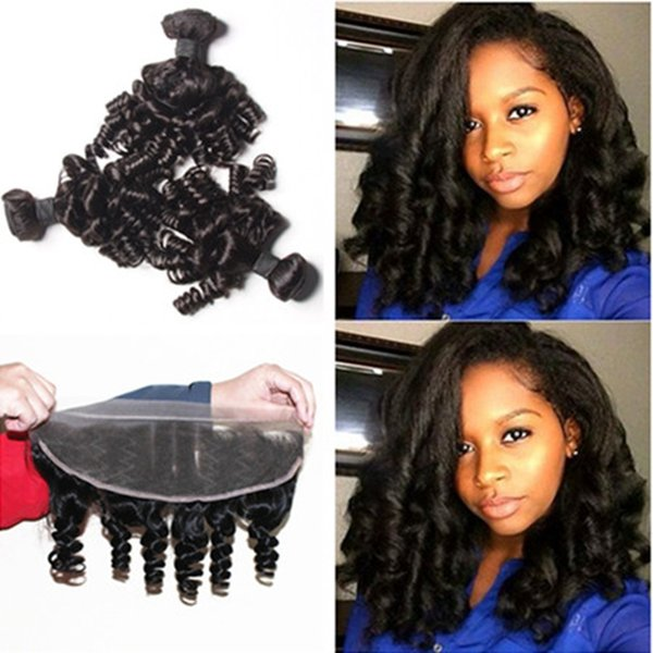 4Pcs Lot Malaysian Funmi Hair With Closure Cheap 9A Aunty Funmi Hair With Lace Closure Funmi Hair Bouncy Curls With Full Lace Frontals