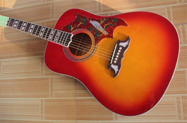 Guitar Factory Wholesale Custom Wholesale Cherry Burst Spruce Top Rosewood Fretboard Acoustic Electric Guitar Free Shipping