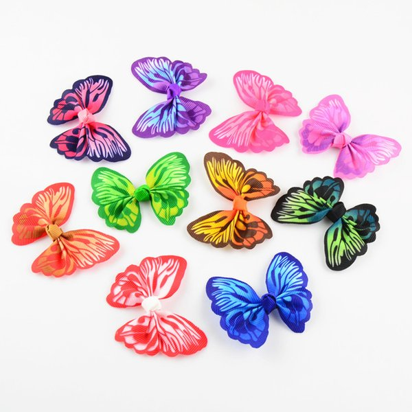 100pcs /Lot 2 .4 Inch Printed Butterfly Ribbon Hair Bow Without Clips Diy Girls Hair Accessories Fashion Hairpins 10 Color U Pick Hdj103