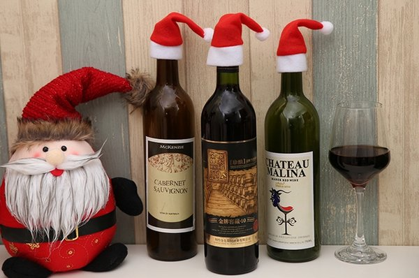 new year wine bottle cover little hat for christmas bottle decorations kids gift merry christmas bar