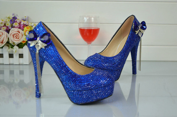 Sapphire Blue Diamond Trade Large Size Glass Slipper Shoes Diamond Bride Marriage Dress Set Auger Handmade Shoes