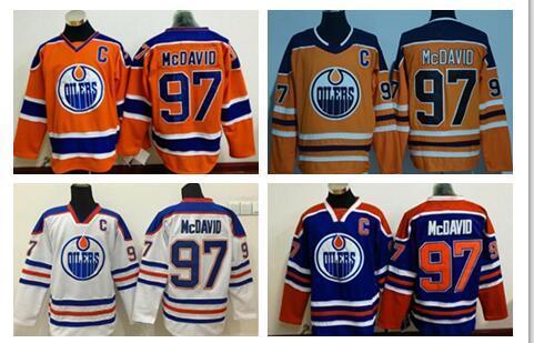 Baratos # 97 Connor McDavid Edmonton Oilers Hóquei No Gelo Jerseys com Capitão C Patch Azul Branco Laranja Terceiro Alternate Premier Costurado Jerseys