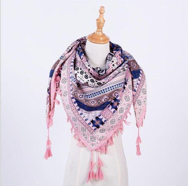 Hot Sale New Fashion Woman Scarf Square Scarves Tassel Printed Women Wraps Winter Autumn Ladies Shawls G1192