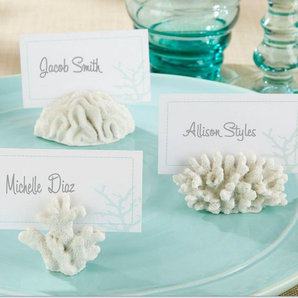 """top popular """"Seven Seas"""" Coral Place Card Photo Holder 100PCS LOT wedding party photo frame 2019"""