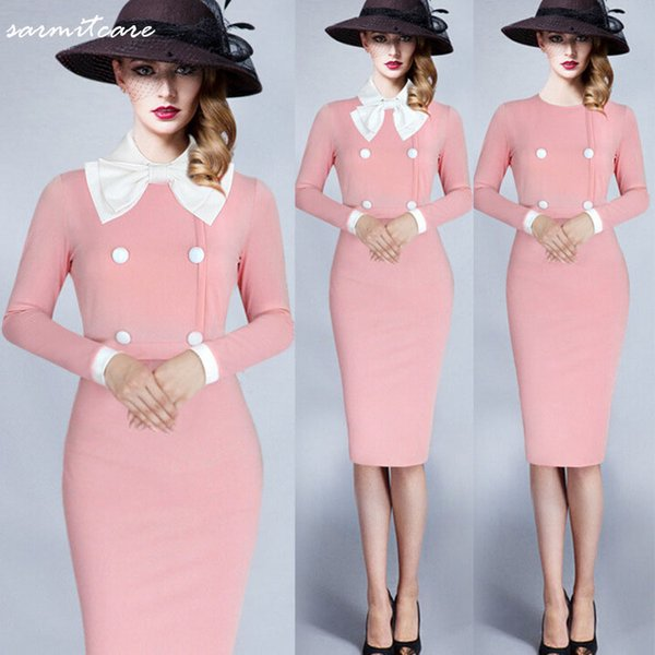 0521 - Long Sleeve Knee Long Brief Style Sweet Elegant Pink Dress with White Neck Bow OL Working Dress Office Dress Long Summer Dress