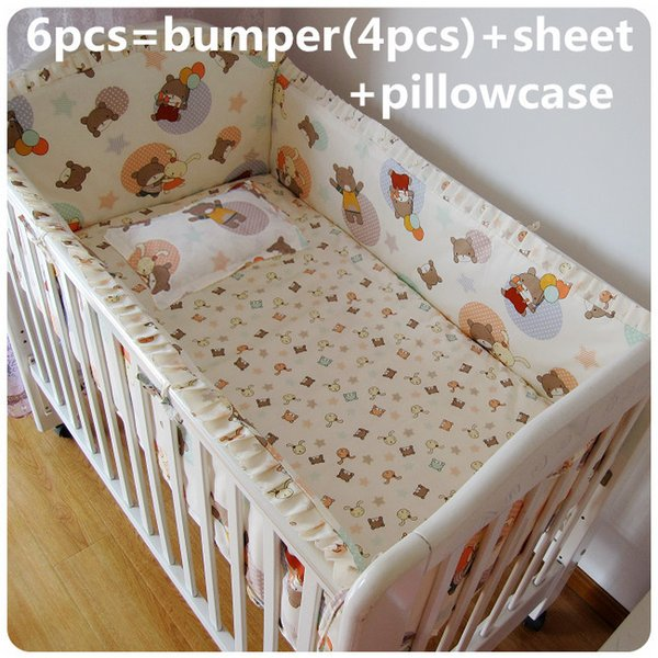 Promotion! 6PCS Boy Baby Cot Crib Bedding Sets nursery bedding kit Embroidered (bumpers+sheet+pillow cover)