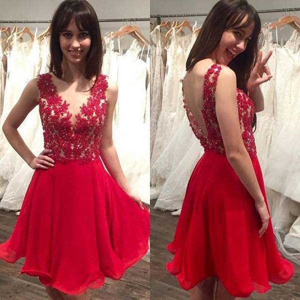 Little Red Short Homecoming Dresses Lace Sequins Appliqued Sexy Low Back Chiffon Cocktail Dresses Junior Graduation Formal Party Dresses