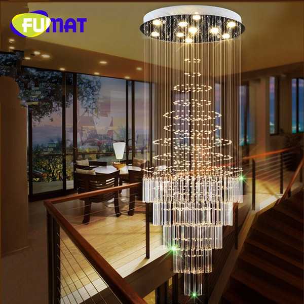 led crystal chandelier villa lobby lounge dining room lamp double staircase long crystal chandelier light - Dining Room Crystal Lighting