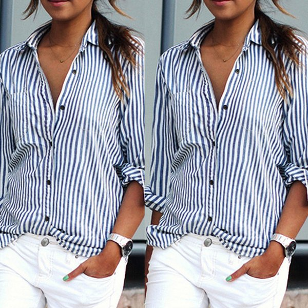 Europe Blouses women's sexy tops striped long-sleeved casual loose plus size clothing chiffon blouses wholesale Shirt for women 3 color