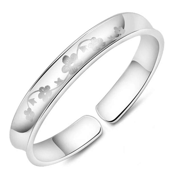 Top 925 sterling silver bracelet charms ethnic wedding vintage mirror face plum flower smooth bright bracelet bangle