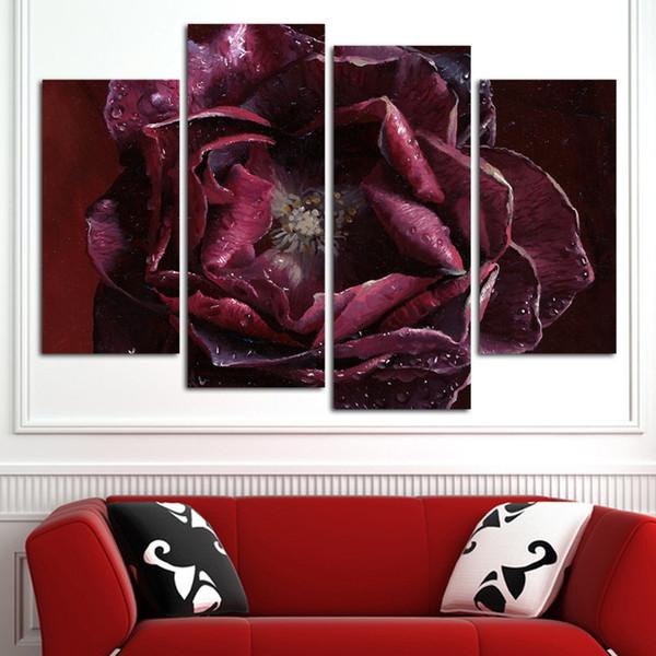 4 Pz / set Combinato Dipinti ad olio Fiore Viola Rosa Moderna Pittura Murale Tela Wall Art Picture Senza Cornice Tela Pittura (No Frame)