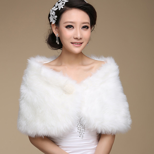 best selling Ivory Fur Wedding Wraps Bridal Gowns Cape Bolero For Women Pearls Button Shawls Free Shipping Cheap