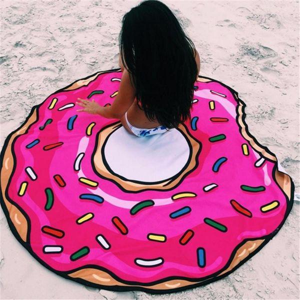 top popular Round Yoga Mat Picnic Blanket Pizza Hamburger Donut Polyester Beach Shower Towel Blanket Free Shipping 2021