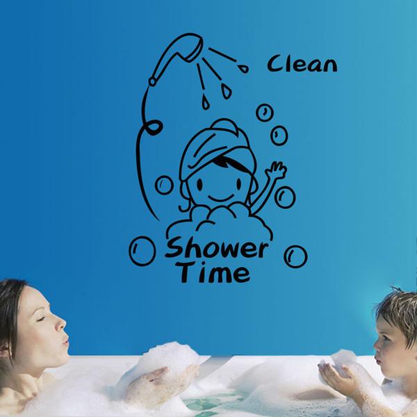 Free Shipping Fashion Removable PVC Shower Time Pattern Bathroom Toilet Wall Sticker Home Decor Bath Room Decor E5M1 order<$18no track
