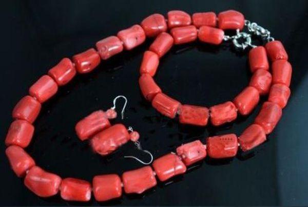 Set di gioielli orecchino braccialetto collana girocollo cilindro di perle di corallo rosso naturale