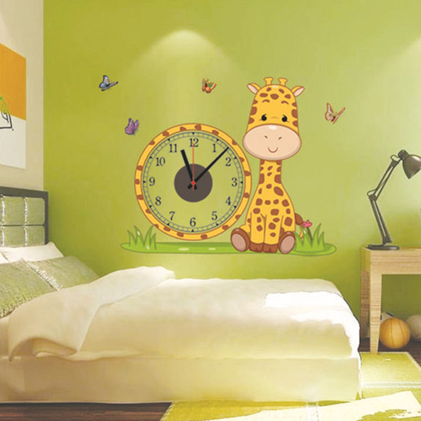 2017 hot Giraffe diy real wall sticker electron clocks home ...