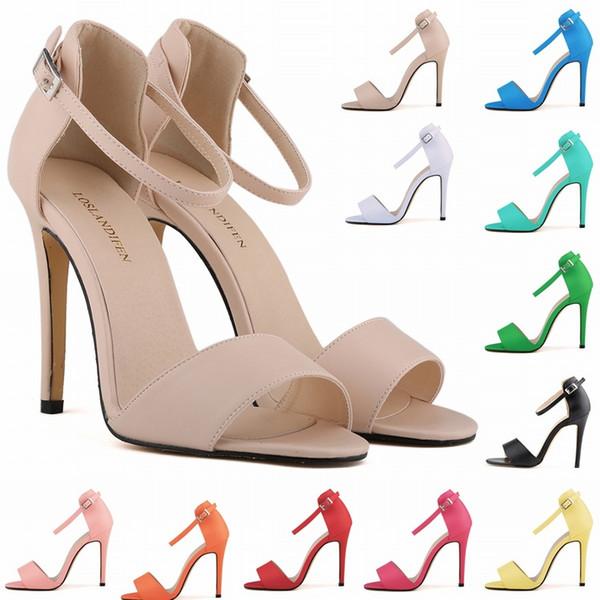 Sapato Feminino Bayanlar Seksi Yüksek Topuklu Stilettos Açık Ayak Bileği Kayışı Takozlar Platformu Sandalet ABD Boyutu 4-11 D0087