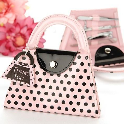 Pink Purse Manicure Set Round Dot Pattern Nail Tools Storage Bag Kit Lovely Portable For Wedding Gift 4cda B