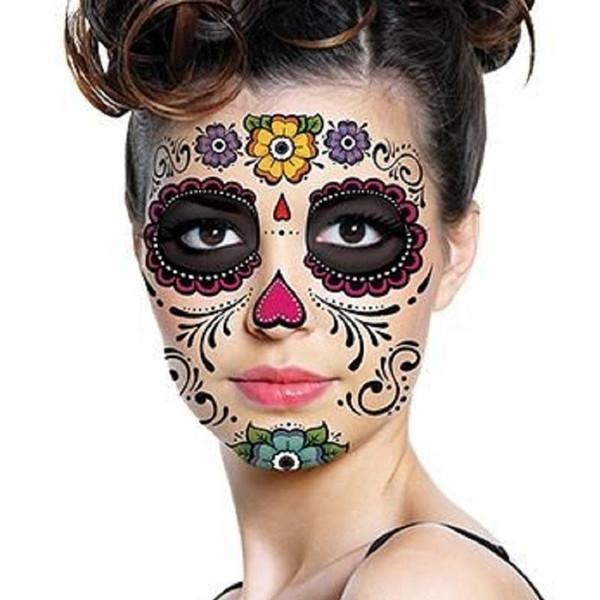Cadılar bayramı Günü Dead Dia de los Muertos Yüz Maskesi su geçirmez dövme etiket için masquerade parti güzellik yüz makyaj