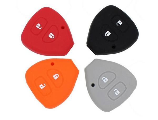 KEYYOU 2 Tasten Silikon Key Case Schale Hülle für TOYOTA Corolla Hilux Vitz Rav4 Aqua Camry
