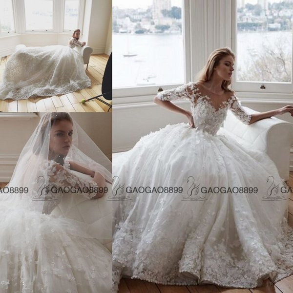 Steven Khalil 2019 3D Floral Cathedral Train Princess Ball Gown Wedding Dresses with Sleeve Sheer Neck Garden Arabic Dubai Wedding Gowns