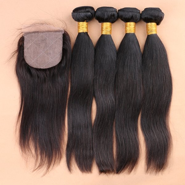 7A Straight Virgin Hair With Closure 5pcs Lot,Silky Straight Human Hair Bundles With Silk Closure,4 Bundles With One 4*4 Closure
