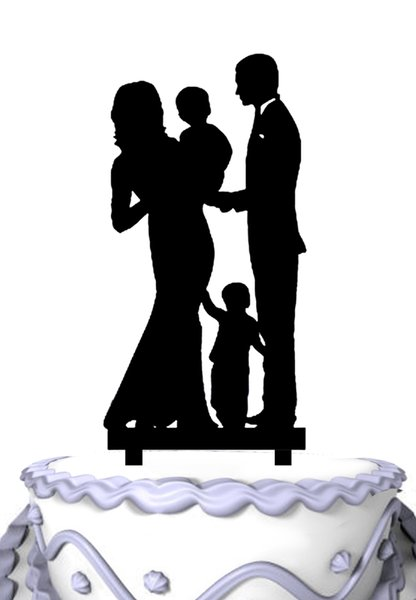 Happy Family Wedding Cake Toppers With Boy
