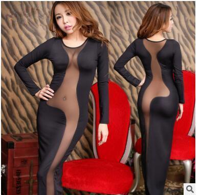 2016 Hot selling summer black night club sexy package hip ultimate temptation tight halter milk silk club dress