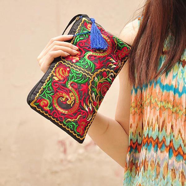Wholesale- Hot Sales Women Retro Boho Ethnic Embroidered Wristlet Clutch Bag Handmade Purse Wallet Storage Bags