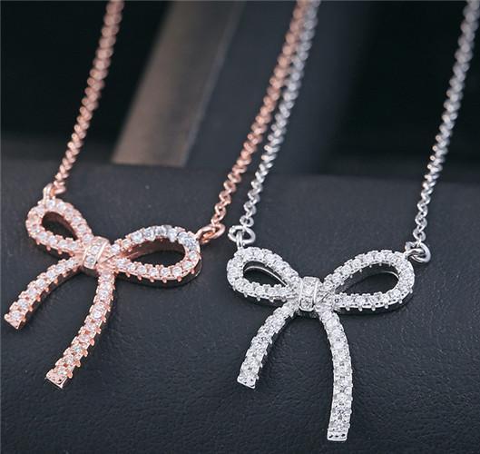 925 sterling silver jewelry pendants necklaces woman princess bowknot diy cross chains white gold rose gold chokers diamante fashion 1pcs