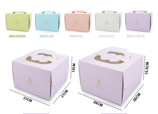 6 inch and 8 inch Portable Handle Bakery Cake Boxes European Gold Foil Biscuit Cake Box 5 Color Mousse Cookies Pastry Packaging Boxes
