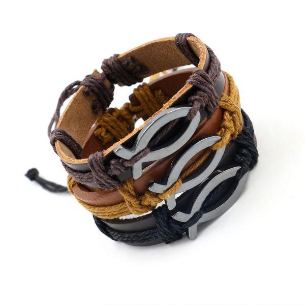 Newest Hematite Leather Braided Infinity Bracelets Fashion Christian Jesus Fish Charm Bracelets Men Women Friendship Bracelets Jewelry Cheap