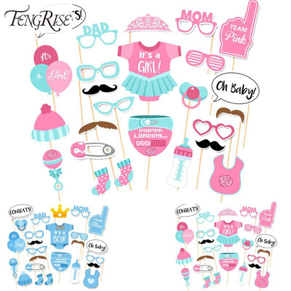 25pcs Baby Shower Favors Photo Booth Props Its a Boy Girl Fun Photobooth 1st Birthday Party Decoration Blue Pink