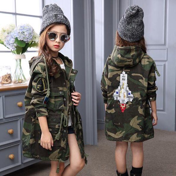 Winter Camouflage Jacket Baby Girls Warm Outwear Korea Style Fashion Rocket Rmbroidery Long Coat For Girls 120-160CM