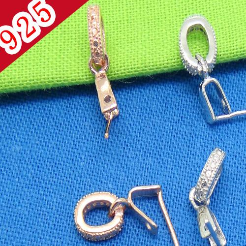 Factory Price-Min 5piece,925 Sterling Silver Platinum-Rose Gold Bling Bling Pinch Bail Clasp Jewelry Connectors