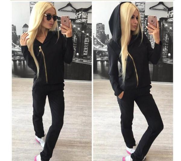 rosa Chándal de marca Mujer Sport Suit Hoodie sudadera + pantalón Jogging Sportswear Ocio de dos piezas talla S-xl Moletom Chándal