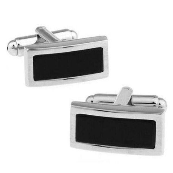 Gemelli rettangolari neri gemelli a forma quadrata Frenchcufflink per camicia gemelli da sposa Fathers Day regali gemelli gemelli gioielli in argento