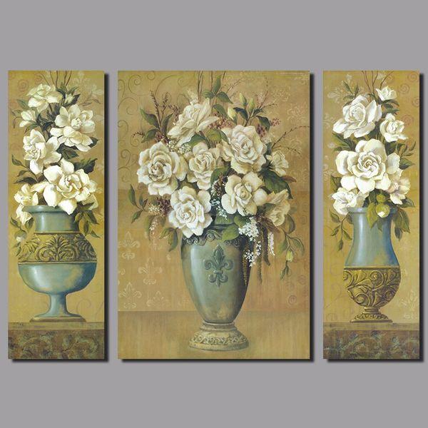 Flower arrangement 3pcs/set white rose flowers decoration vase Canvas Painting wall Art living room kids printed decor unframed
