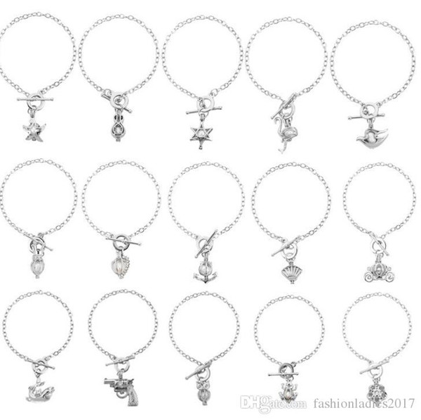 28styles Women Pearl Oyster Charm cage lockets Bracelets Fashion Silver Pistol Owl Ostrich Pearl Cage Pendant Locket Bracelet Jewelry D669