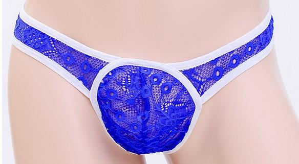 Men's underwear sexy thong T-trousers U convex tight waist low-sided single-transparent lace underwear