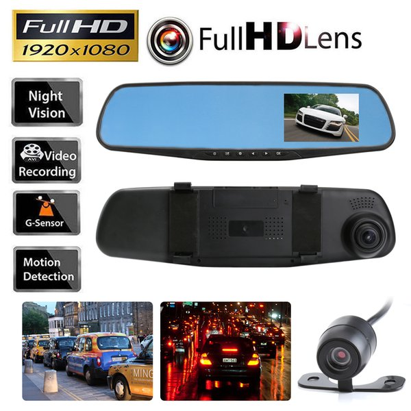 Car DVR Camera Rearview Mirror Auto Dvr Dual Lens Dash Cam Recorder Video Registrator Camcorder Full HD 1080p G sensor DVRs cameras car dvr