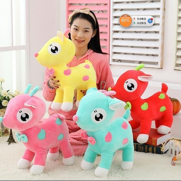 1 piece 2015 new arrived colours Sika Deer animals stuffed baby toys cloth cartoon doll children Christmas gift