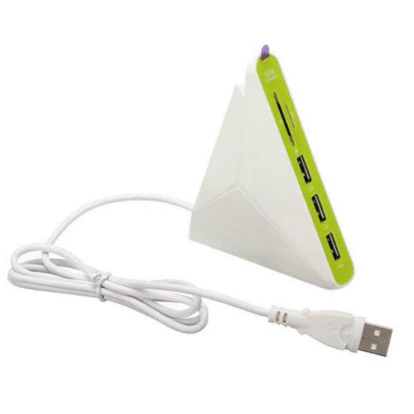 Luz universal de alta velocidad LED de alta calidad Mini 3 en 1 concentradores USB 2.0 3 puertos USB HUB con SD TF Mico
