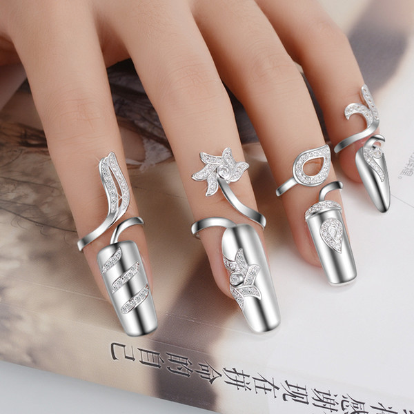 top popular Adjustable Authentic 925 Sterling Silver Fashion Fingernail Nail jacket Rings With Clear CZ Jewelry for Women Girl jewelry Gift JZ125 2019
