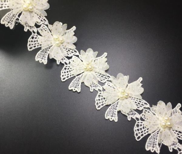 15Yard Flower Rhinestone Pearl Cotton Lace Fabric Trim Ribbon For Sewing DIY Bridal wedding Doll Cap Hair clip
