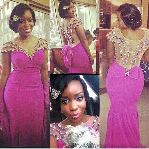 Hot Pink Chiffon Sheer Neck Meerjungfrau Brautjungfernkleider Lange 2016 African Short Sleeve Illusion Zurück Perlen Kristall Hochzeit Gast Kleid