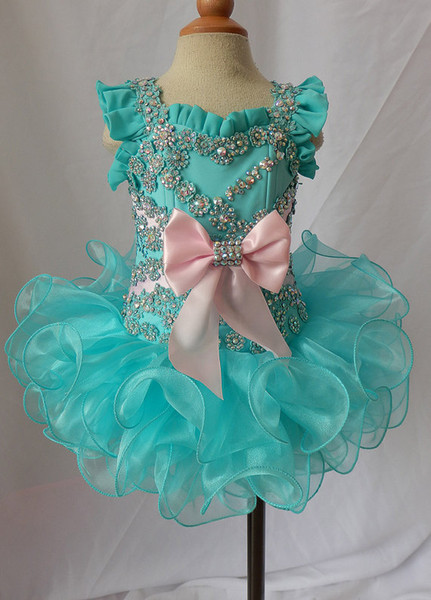 Scoop beaded bow green spaghetti lace up organza ball gowns girls pageant dresses glitz kids formal toddler for little girls glitz cupcake