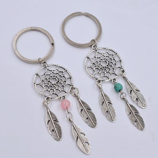 Nuovo regalo di moda Perle verdi rosa Dreamcatcher Feather Wind Chimes Dream Catcher Portachiavi Donna Vintage Portachiavi stile indiano
