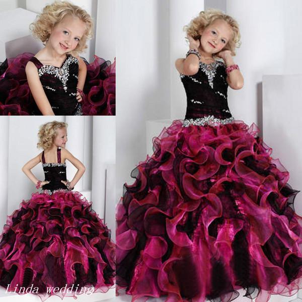 Vestito da spettacolo della ragazza nera e rosa Vestito da ballo della principessa Abito da ballo di cupcake per la ragazza giovane corto Abito carino per la bambina