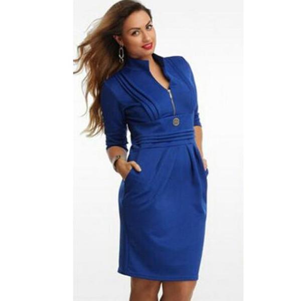 2019 Hot Women\'S Plus Size Work Dresses Elegant OL Clothing Fold V Neck  Long Sleeve Package Buttocks Royal Blue Skirt From Evening2489, $20.1 | ...